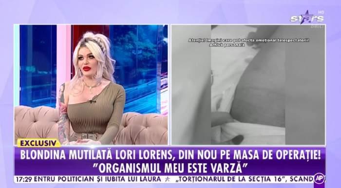 Loredana Loreens poartă o rochie verde, e dată cu ruj roșu pe buze și are părul prins în coadă. Vedeta stă pe canapeaua gri de la Antena Stars.