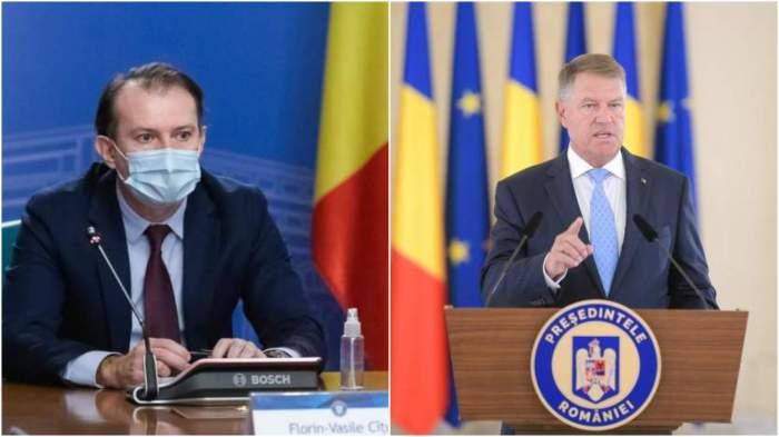 Colaj cu Florin Cîțu și Klaus Iohannis în cadrul unei conferințe de presă.