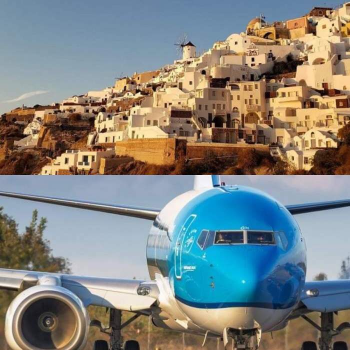 Imagine cu un peisaj din Grecia si un avion la sol