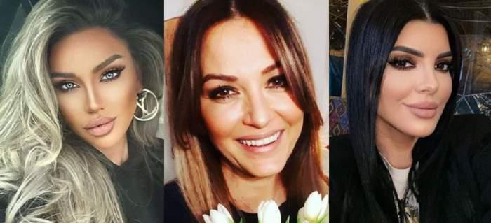 Un colaj cu Anca Țurcașiu, Bianca Drăgușanu și Andreea Tonciu. Toate trei își fac selfie-uri.