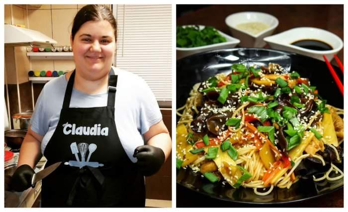 Claudia Radu poarta un sort de bucatarie cu numele ei si a postat o imagine cu reteta de noodles de pui