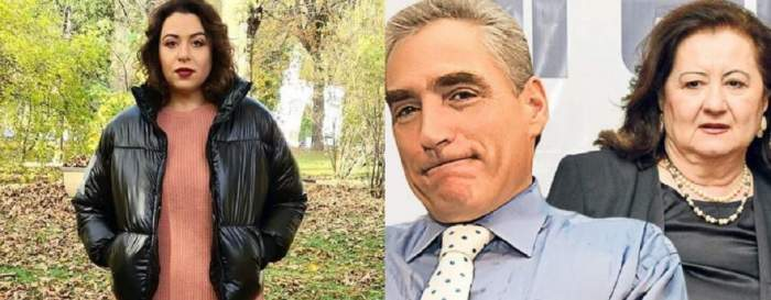În stânga, Oana Roman se află în parc și poartă o geacă neagră și pulover roz. În dreapta sunt părinții ei. Mioara poartă un costum negru, iar Petre o cămașă bleu.