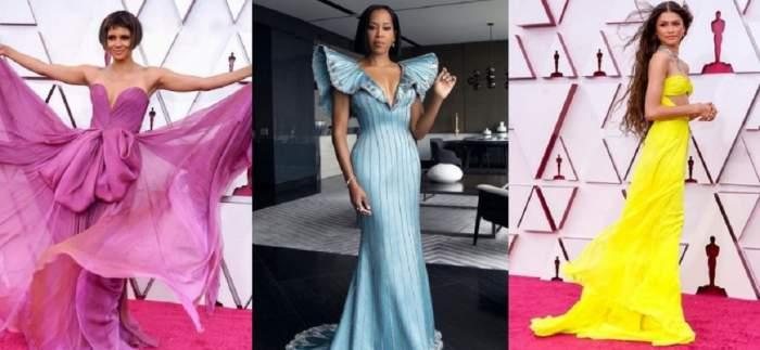 Un colaj cu Zendaya Coleman, Halle Berry și Regina King de la Gala Premiilor Oscar 2021.