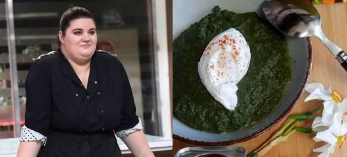 În stânga, Claudia Radu poartă o uniformă neagră de bucătar. În dreapta e rețeta de piure de urzici și ștevie a tinerei.