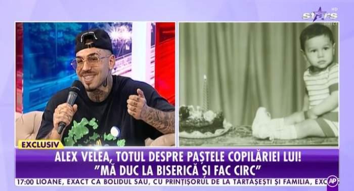 Captură video cu Alex Velea în platou la Antena Stars.