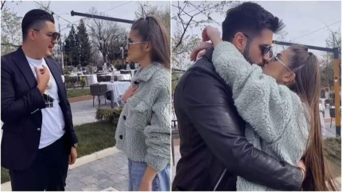 Colaj cu Theo Rose în timp ce vorbește cu Bogdan de la Ploiești/ Theo Rose și Alex Leonte în timp ce se sărută.