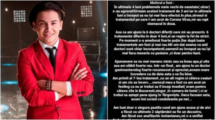 Colaj cu Florin Răduță în sacou roșu/ mesajul postat pe Florin Răduță pe Instagram.