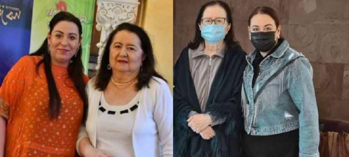 Un colaj cu Oana și Mioara Roman. În prima imagine Oana poartă o bluză oranj, iar Mioara un costum alb, iar în a doua poză, vedeta o ia pe mama ei de la centru pentru recuperare.