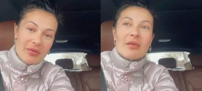 Olguța Berbec e în mașină. Vedeta poartă o geacă albă, spre argintiu, și are părul prins în coc.