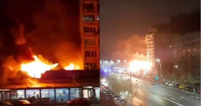 Incendiu devastator la o shaormerie din București! Deflagrația s-a extins și pe blocurile învecinate și zeci de persoane au fost evacuate / VIDEO