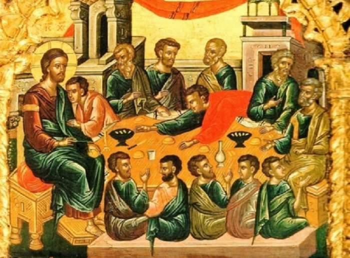 O scenă biblică reprezentată printr-o icoană cu Iisus Hristos și mai mulți sfinți. E vorba despre Cina cea de Taină.