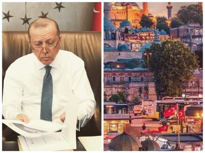 Recep Erdogan și un peisaj din Istanbul