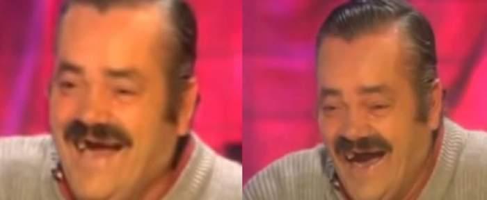 Un colaj cu Juan Joya Borja. Actorul râde și poartă un pulover gri.
