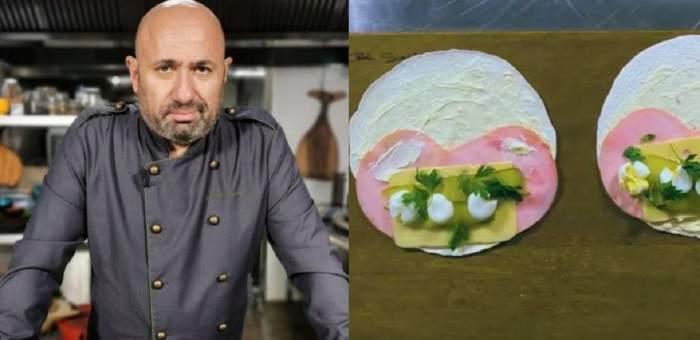 În stânga e Cătălin Scărlătescu îmbrăcat în uniformă de bucătar, de culoare gri petrol. În dreapta e o poză cu sandvișurile făcute de el, cu șuncă și ouă de prepeliță.