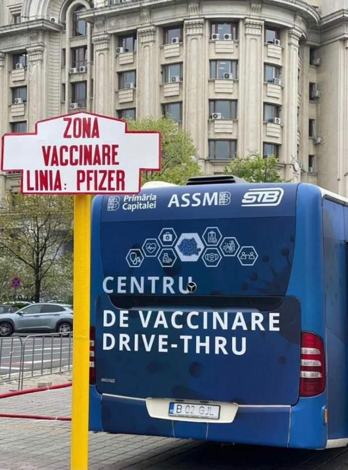 """Bucureștenii s-au bucurat de o vaccinare la minut, în centrul drive-thru. Florin Cîțu:  """"Împreună revenim la normalitate"""" / FOTO"""