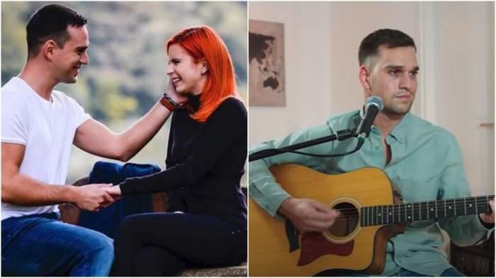 Cristina Ciobănașu și Vlad Gherman în perioada în care formau un cuplu/ Vlad Gherman în timp ce cântă la chitară.