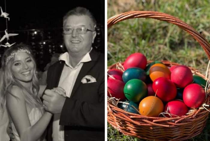 in poza din stanga laura cosoi si tatal ei in ziua nuntii ei si in poza din dreapta cosul de oua de Paste postat de Laura Cosoi