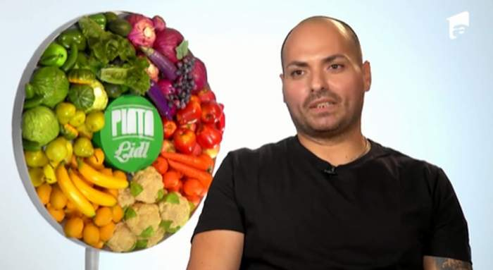 Chef Cătălin Petrescu in tricou negru la Chefi la cuțite