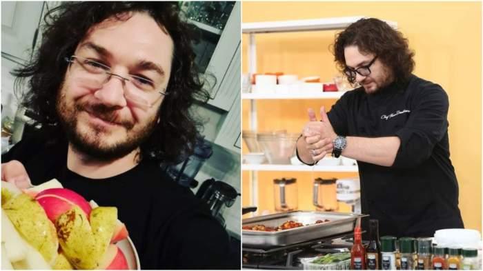 Colaj cu Florin Dumitrescu cu o farfurie cu mere în mână/ Florin Dumiitrescu în bucătăria Chefi la cuțite.