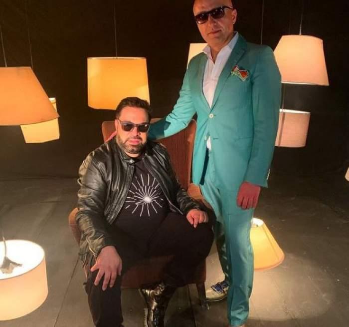 Florin Salam și Costi Ioniță, la filmările unui videoclip.