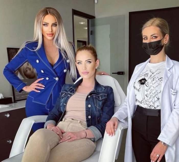 Bianca Drăgușanu alături de sora sa și medicul estetican.