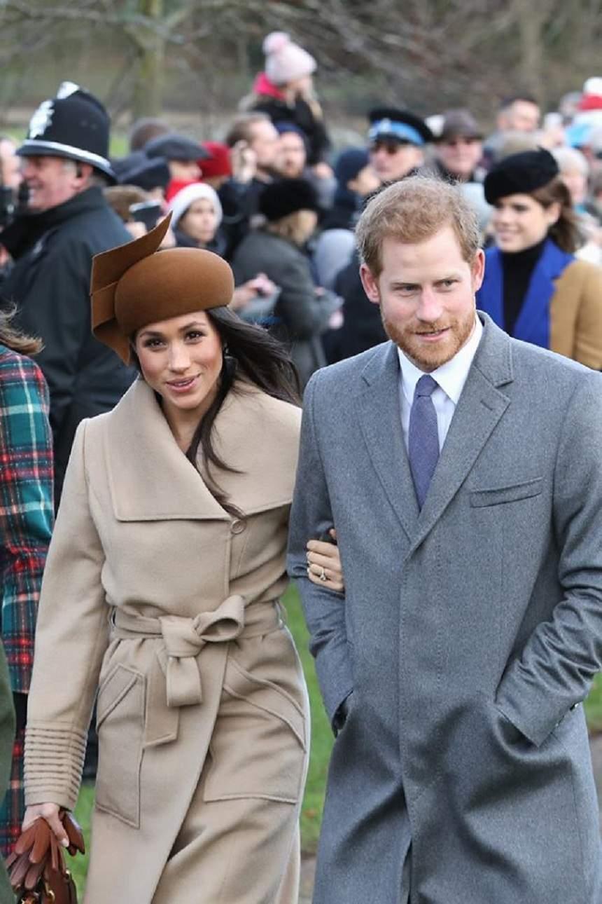 Meghan Markle și Harry, îmbrăcați în paltoane crem și gri