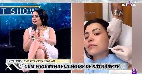 Colaj foto cu Mihaela Moise, la Antena Stars și în cabinetul medicului estetician
