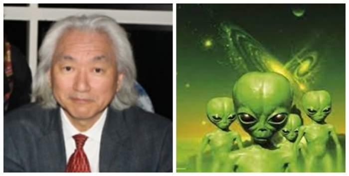 Colaj foto cu Michio Kaku și mai mulți extratereștri