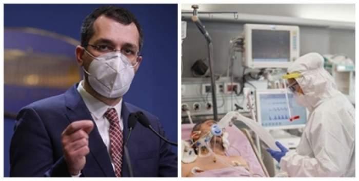 Colaj foto cu Vlad Voiculescu și un medic și un pacient la ATI