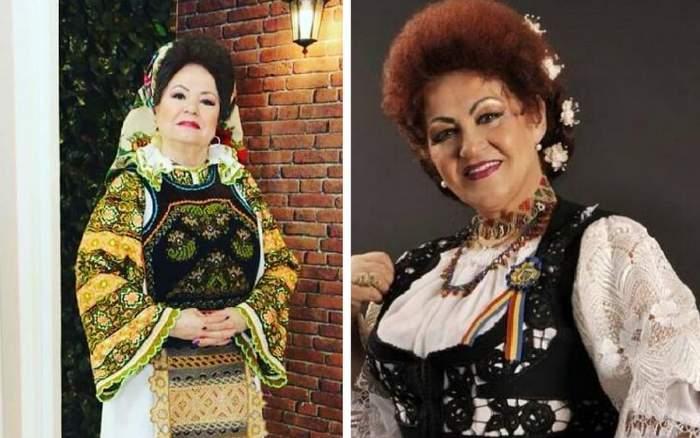 in poza din stanga saveta bogdan in costum popular si in poza din dreapta Elena Merișoreanu in costum popular