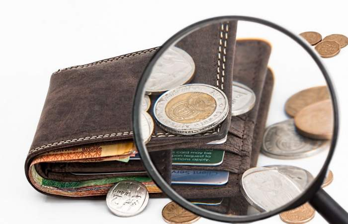Imagine simbol cu un portofel. Prin cadrul unei lupe sunt văzuți mai bine banii și cardurile.
