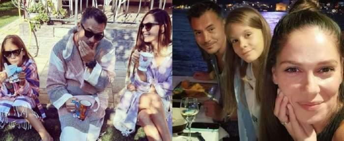 Un colaj cu Răzvan Fodor, Irina Fodor și fiica lor, Diana. În prima poză toți poartă ochelari de soare și țin câte o cană în mână, iar în a doua își fac un selfie la restaurant.