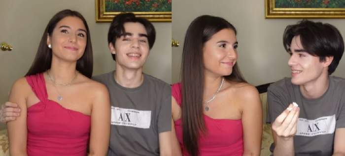 Un colaj cu Radu Ștefan Bănică și Cristina. Ea poartă un maiou roz, iar el un tricou gri.