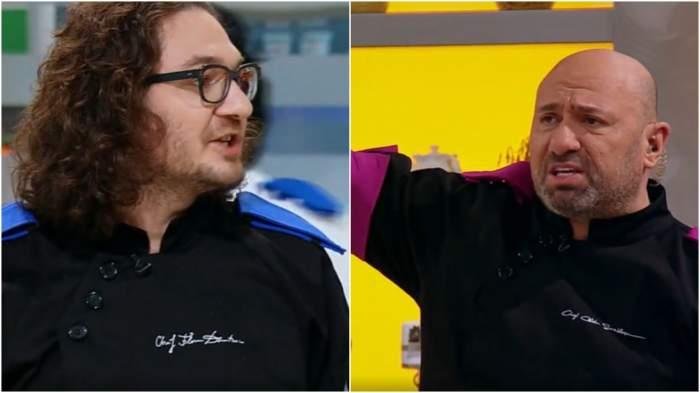 Captură video cu Florin Dumitrescu și Cătălin Scărlătescu în timp ce se ceartă în bucătăria de la Chefi la cuțite.