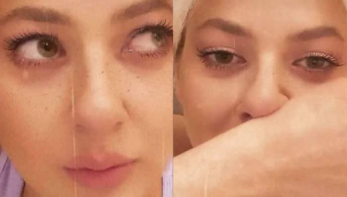 Lidia Buble plânge. Vedeta își șterge nasul cu mâna.