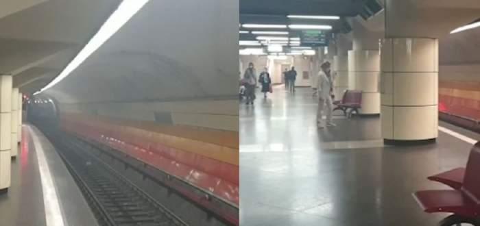Un colaj cu stația de metrou 1 Mai. În imagini se vede atât linia de metrou, cât și călătorii care aștaptă trenul.