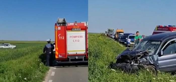 Un colaj cu accidentul din județul Constanța. Două mașini avariate se află pe câmp. La fața locului au ajuns mai multe echipaje de salvare.