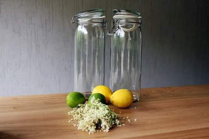 Imagine cu doua sticle goale, lamai, lime si flori de socata