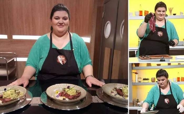 Un colaj cu Claudia Radu. Fosta concurentă gătește în bucătăria Chefi la cuțite și poartă sorț negru.