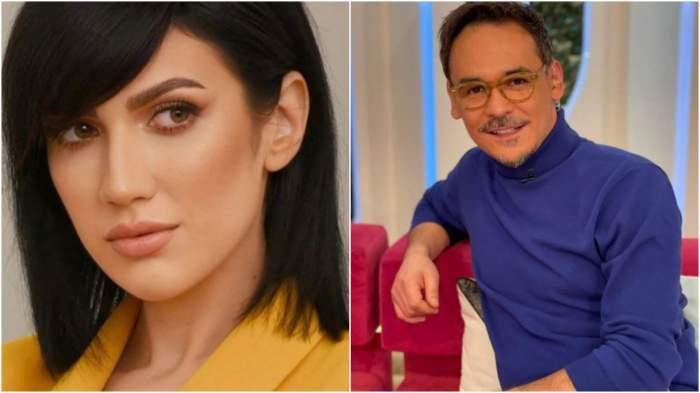 Colaj cu chipul Dalianei Răducan/ Răzvan Simion cu maletă albastră.