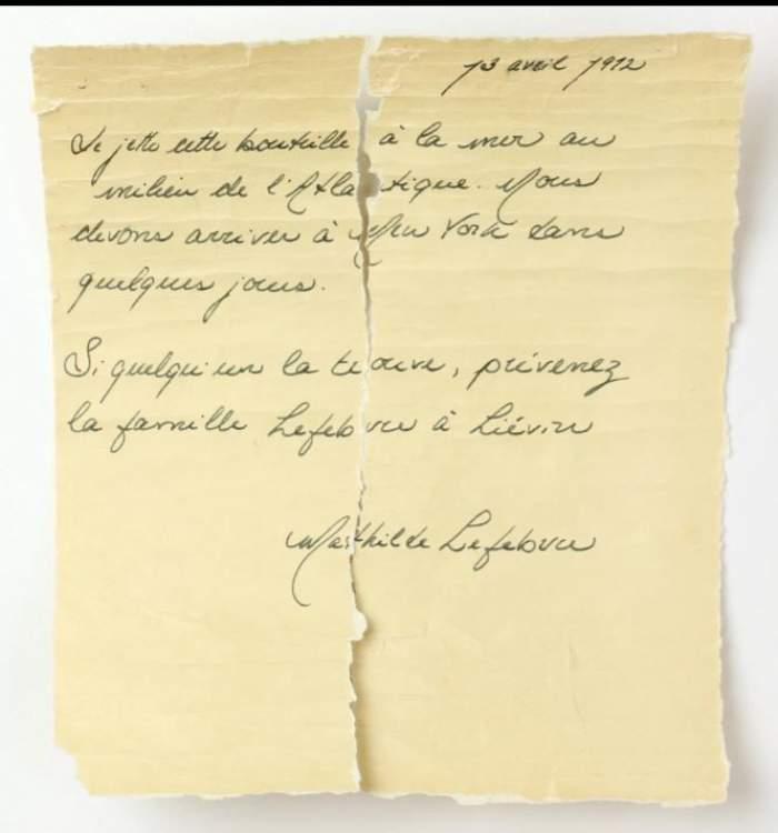 Un mesaj într-o sticlă, aruncat de pe Titanic înainte de naufragiu, a fost găsit după 105 ani. Ce scria în bilet