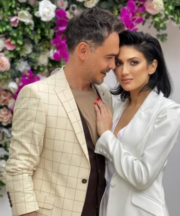 Daliana Răducan și Răzvan Simion la nunta lui Dani Oțil, îmbrățișați.