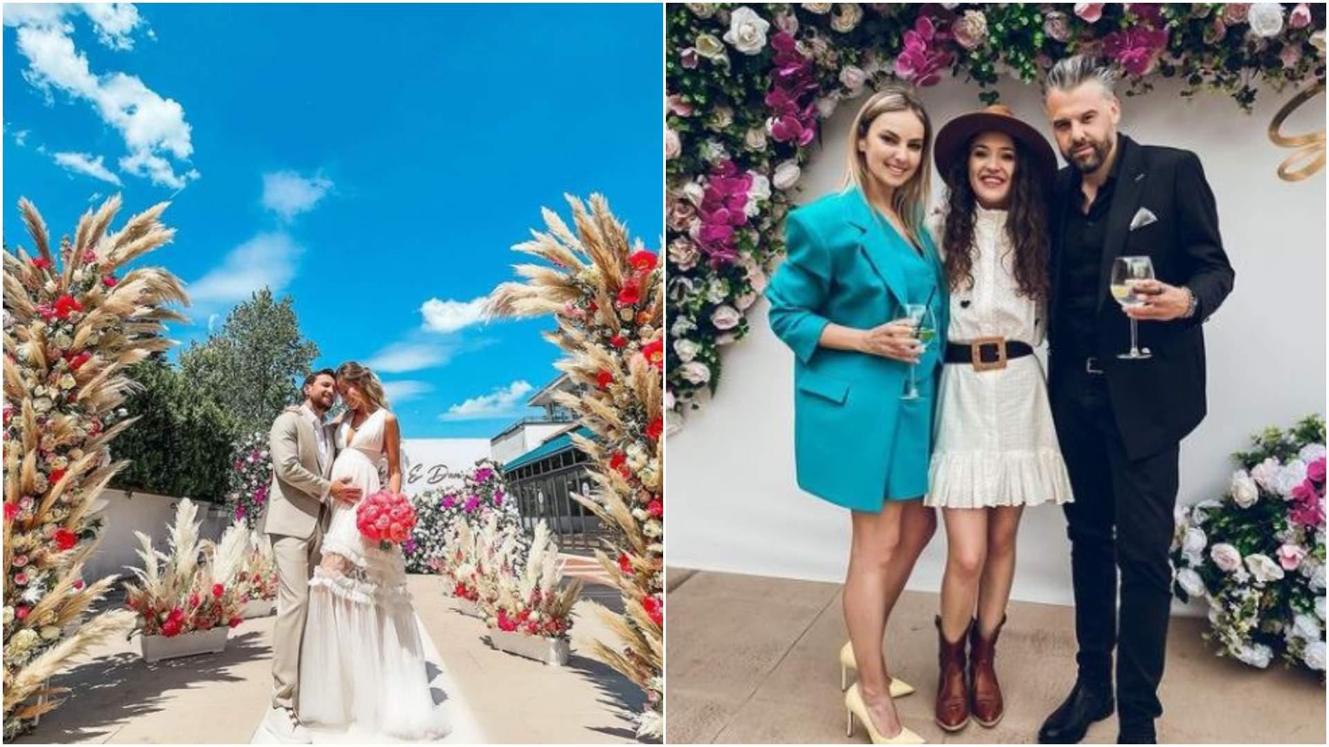 Colaj cu Dani Oțil și Gabriela Prisăcariu, îmbrățișați, la nuntă/ Tinu Vidaicu, Roxana Ionescu și Carmen Chindriș.