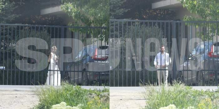 Dani Oțil și Gabriela Prisacariu în ținute de nuntă, în curtea casei.