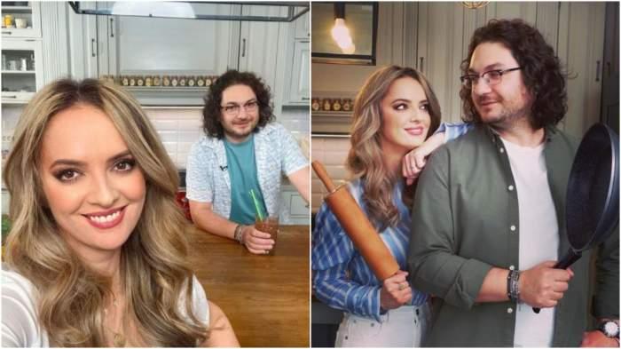 Colaj cu imagini cu Florin Dumitrescu și soția sa, în bucătărie,