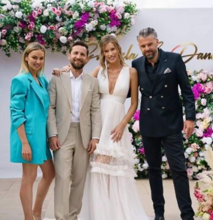 Dani Oțil și Gabriela Prisăcariu alături de Roxana Ionescu și Tinu Vidaicu, la nuntă.