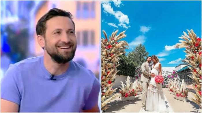 Colaj cu Dani Oțil în timp ce zâmbește/ Dani Oțil și Gabriela Prisăcariu, în ziua nunții.