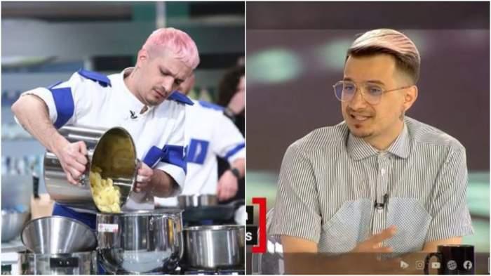 Colaj cu Keed în bucătăria Chefi la cuțite/ Keed în timp ce dă un interviu.