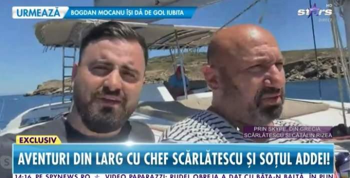 Captură cu Cătălin Scărlătescu și Cătălin Rizea de pe barcă.