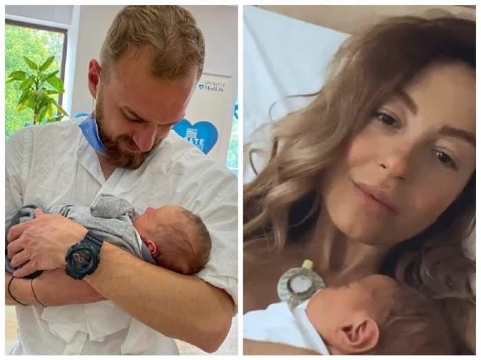 Colaj cu Marius Moldovan și Flavia Mihășan în brațe cu bebelușul lor